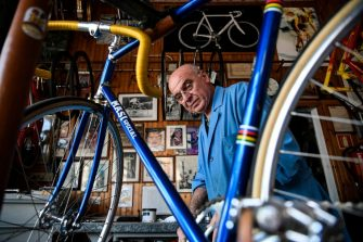 Italian bicycle maker Alberto Masi works in his workshop in Vigorelli Velodrome, on April 26, 2018 in Milan. - Alberto Masi is the son of Faliero Masi, one of the most famous frames builder for the greats riders as Fausto Coppi, Fiorenzo Magni, Louison Bobet, Jacques Anquetil, Felice Gimondi and Eddy Merckx. His workshop produces handmade bikes for his customers all over the world. (Photo by MARCO BERTORELLO / AFP)        (Photo credit should read MARCO BERTORELLO/AFP via Getty Images)