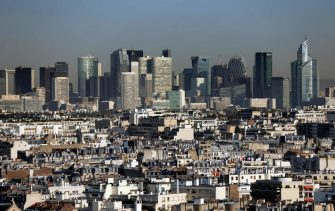 This aerial picture taken on September 15, 2020 in Paris shows the La Defense district outside Paris. (Photo by Thomas COEX / AFP) (Photo by THOMAS COEX/AFP via Getty Images)