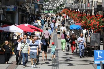 People walk in a street of the city of Luxembourg on August 29, 2017. (Photo by ludovic MARIN / AFP)        (Photo credit should read LUDOVIC MARIN/AFP via Getty Images)