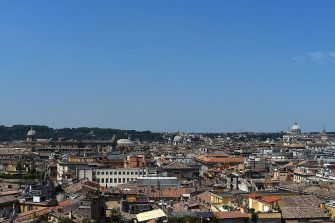 A picture taken on July 17, 2015 shows a panoramic view of the city of Rome from the Napoleonic apartments in the Quirinale Presidential Palace in Rome. The Quirinale palace, built in 1583 by Pope Gregory XIII on the remains of ancient Roman baths, has housed in the past thirty Catholic popes, four kings of Italy and twelve presidents of the Italian Republic. AFP PHOTO / GABRIEL BOUYS        (Photo credit should read GABRIEL BOUYS/AFP via Getty Images)
