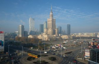 WARSAW, POLAND - NOVEMBER 12:  In this photograph shot through a glass window the Palace of Culture and Science stands in the city center on November 12, 2018 in Warsaw, Poland. Warsaw is the capital of Poland and a popular tourist destination.  (Photo by Sean Gallup/Getty Images)