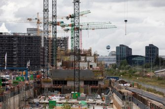 BERLIN, GERMANY - SEPTEMBER 02: The construction site on Heidestrasse is seen on September 2, 2020 in Berlin, Germany. The economic outlook for Germany during the coronavirus pandemic has improved. The economy contracted a sharp 9.7% in the second quarter, not as much as some analysts had expected, while the Ifo business climate index rose to 92.6 in August, up from 90.4 in July. The construction industry, especially in Berlin, has fared better during the pandemic than other sectors of the economy. (Photo by Maja Hitij/Getty Images)