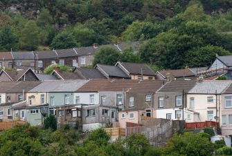 CARDIFF, UNITED KINGDOM - SEPTEMBER 01: A general view of houses in Ferndale in the Rhondda Valley on September 1, 2018 in Cardiff, United Kingdom. Almost 1 in 4 people in Wales live in poverty according to figures from the Joseph Rowntree Foundation. Rising living costs, combined with cuts to working age benefits and poor quality jobs, is leading to an increased risk of living in poverty. (Photo by Matthew Horwood/Getty Images)