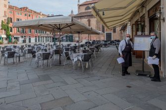 VENICE, ITALY - MAY 18: After three months of lockdown restaurants and bars restart service on May 18, 2020 in Venice, Italy. Italy was the first country to impose a nationwide lockdown to stem the transmission of the Coronavirus (Covid-19), and its restaurants, theaters and many other businesses remain closed. (Photo by Stefano Mazzola/Awakening/Getty Images)