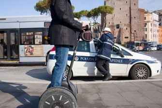 ROME - ITALY - NOVEMBER 2011: Visitors to Rome take a Segway tour around the city centre sights. Located in the central western portion of the Italian peninsula, Rome is the capital of Italy and the country's largest and most populated city with over 2.7 million residents. (Photo by Peter Dench/Getty Images Reportage)