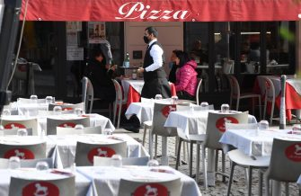 A waiter, wearing a face mask, walks past the only occupied by clients table terrace in a restaurant in the center of Milan, Italy, 27 October 2020. Smartworking, now used by many companies as a Covid containment measure, is impacting dramatically on the catering economy.ANSA/DANIEL DAL ZENNARO