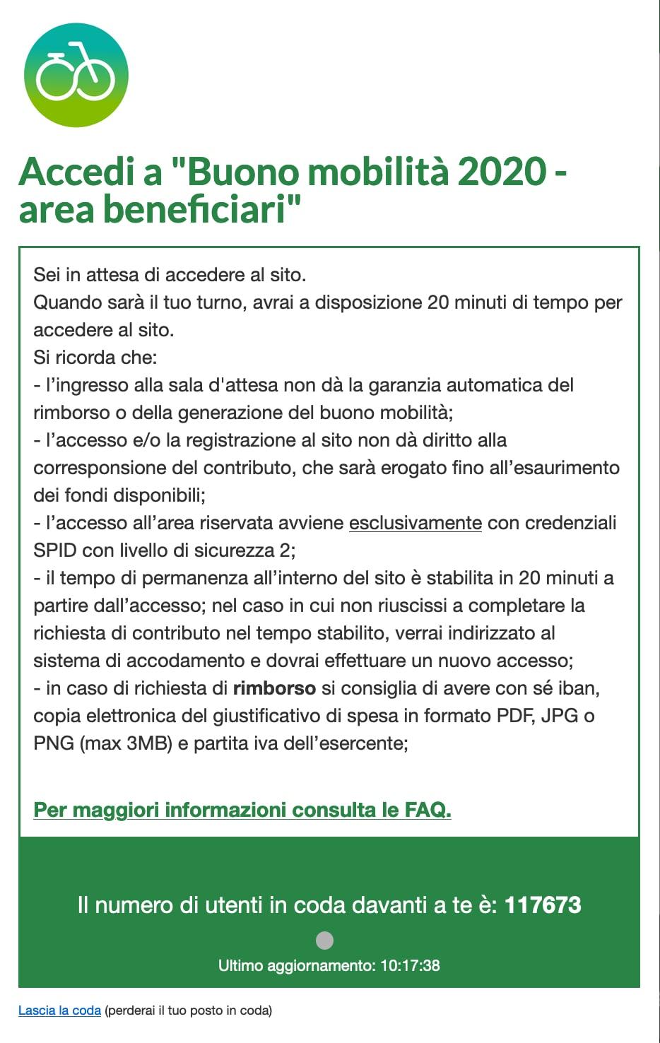 Screenshot dal sito del Ministero dell'Ambiente