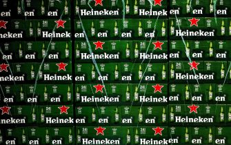 epa07367015 (FILE) - An image showing boxes with Heineken beer during the open day of the Heineken brewery in Zoeterwoude, The Netherlands, 06 June 2015 (reissued 13 February 2019) Heineken released their full year results 2018 on 13 February 2019, saying their net revenue increased 6.1 per cent to 22,471 million euro, while net profit increased 12.5 per cent to 2,424 million euro.  EPA/KOEN VAN WEEL