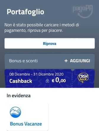 cashback problemi app io