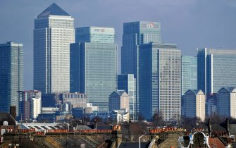 epa08685959 (FILE) - A file photo dated 09 February 2011 shows a view of London's financial district Canary Wharf, London, Britain (reissued 21 September 2020). Media reports citing financial reports on 21 September 2020 state stock markets in Europe lost up to three per cent amid fears a second Covid-19, Coronavirus wave may be on its way and governments could impose restrictions that could harm economy.  EPA/ANDY RAIN *** Local Caption *** 54743116