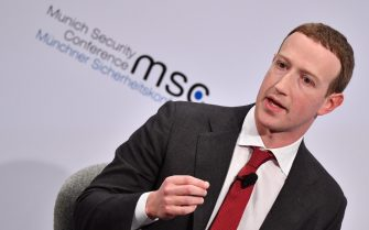 epa08219746 Facebook CEO and co-founder Mark Zuckerberg speaks during a Conversation session 'Learn Fast and Fix Things: Social Media and Democracy' at the 56th Munich Security Conference (MSC) in Munich, Germany, 15 February 2020. More than 500 high-level international decision-makers meet at the 56th Munich Security Conference in Munich during their annual meeting from 14 to 16 February 2020 to discuss global security issues.  EPA/PHILIPP GUELLAND
