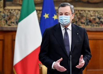 The Prime Minister, Mario Draghi during the signing of the '' Pact for the innovation of public work and social cohesion '', at Palazzo Chigi, Rome, Italy, 10 March 2021.  ANSA/ETTORE FERRARI