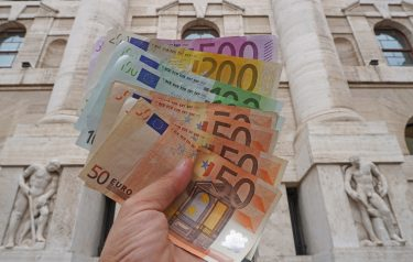 Euro, money, banknotes - inflation and stock market collapse