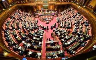 L'aula del Senato durante l'esame sullo scostamento di bilancio nell'aula del Senato, Roma, 20 gennaio 2021.  ANSA/ETTORE FERRARI