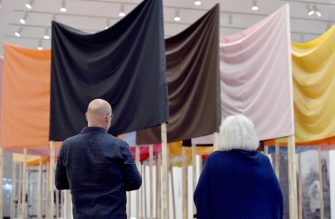 23 May 2021, North Rhine-Westphalia, Duesseldorf: Visitors stand in the Joseph Beuys exhibition at the Kunstsammlung K20. After many months of Corona forced break, the museums in some cities are allowed to open to visitors again. Photo: Caroline Seidel/dpa (Photo by Caroline Seidel/picture alliance via Getty Images)