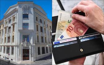 Il palazzo dell'Istat e un portafoglio con alcune banconote