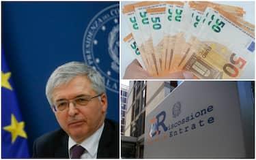Da sinistra: il ministro dell'Economia Franco, banconote da 50 euro e un cartello dell'Agenzia delle entrate