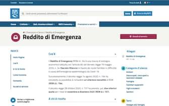 La pagina dell'Inps dedicata al Reddito di emergenza