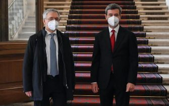 Italian Economy Minister Daniele Franco (L) and Italian Labour Minister Andrea Orlando leave the Quirinal Palace following the new government's swearing-in ceremony, in Rome, Italy, 13 February 2021. ANSA/DI MEO ALESSANDRO / POOL