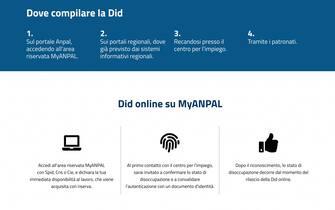 La pagina Anpal dedicata alla Did