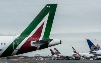 NO FRANCE - NO SWITZERLAND: April 28, 2017 : Alitalia aircraft during the departure of the Papal flight from Fiumicino Airport to Arab Republic of Egypt.