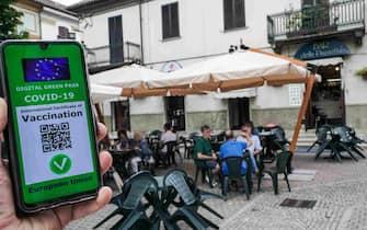 Una ricostruzione grafica del Green pass, il certificato digitale Covid dell'UE. Torino 15 luglio 2021 ANSA/TINO ROMANO