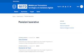 Il sito del ministero per l'Innovazione e la Transizione Digitale