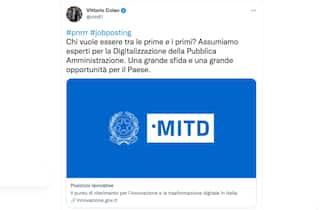 Il tweet del ministro Vittorio Colao