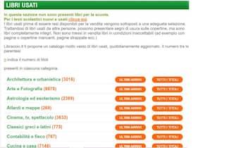 La homepage della sezione Libri usati sul sito del Libraccio