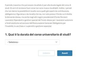 Una delle domande del simulatore Inps per il riscatto della laurea