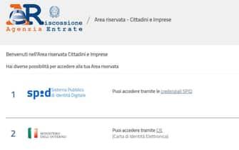 Pagina web dell'area riservata dell'Agenzia delle Entrate