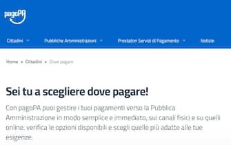 Una schermata dalla pagina PagoPA