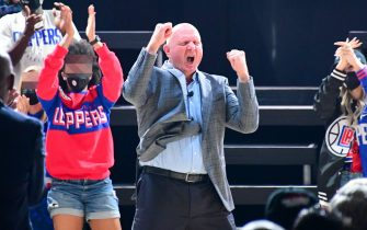 Los Angeles Clippers owner Steve Ballmer speaks during a groundbreaking ceremony for the new home of the Los Angeles Clippers, Intuit Dome, Friday, Sept. 17, 2021, in Inglewood, Calif. (Dylan Stewart/Image of Sport/Sipa USA)