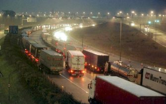Lorries stack on the M20 motorway near Folkestone in Kent 0 November, because of delays at Dover Port due to the French truck drivers' strike, which is into its second day.   (UK OUT)