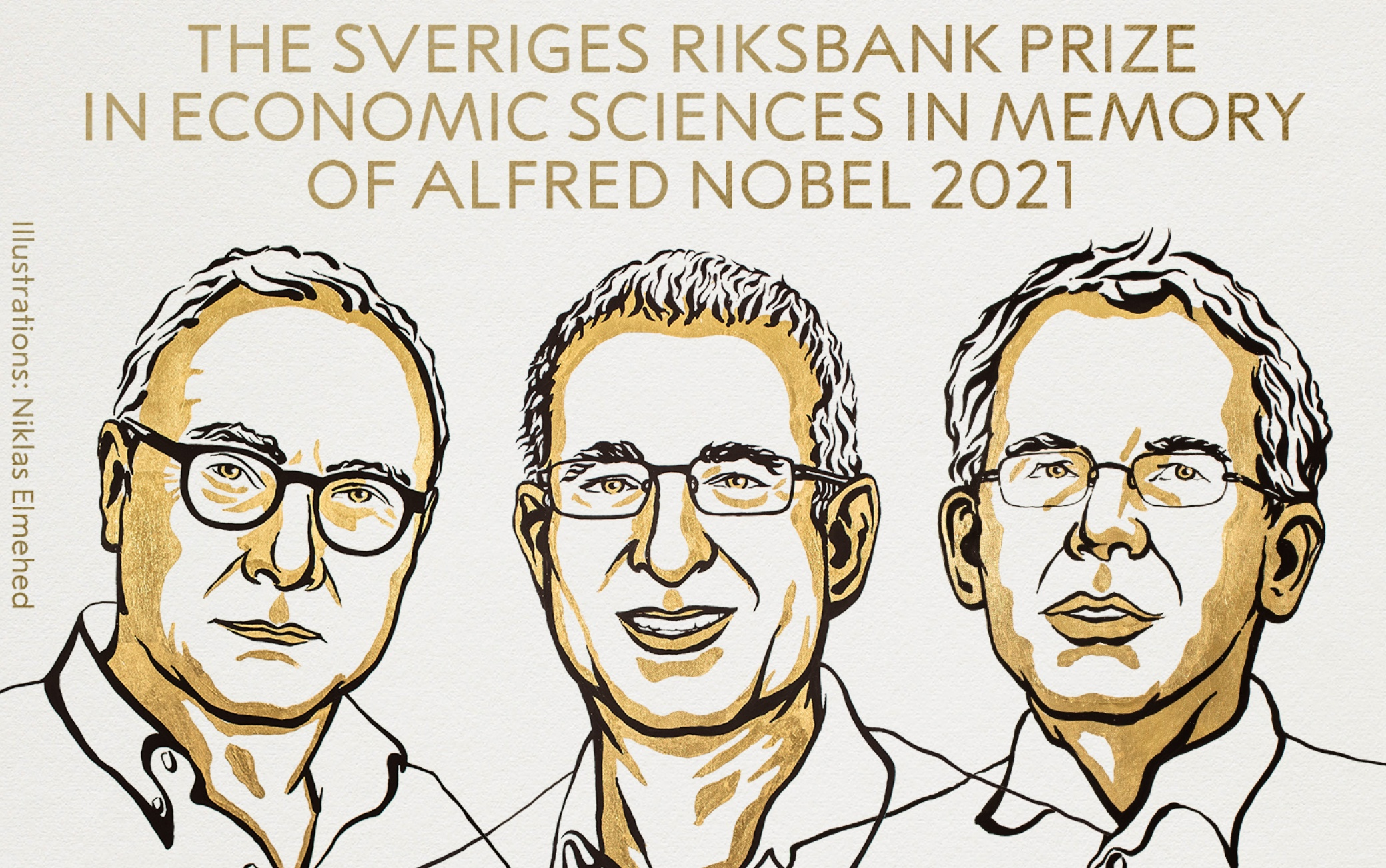 L'illustrazione dei tre vincitori del Nobel per l'Economia 2021
