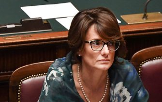 Italy's Minister for the South Giuseppe Provenzano (L) and Italy's Minister for Family and Equal Opportunities Elena Bonetti attend on September 9, 2019 the new government confidence vote at the lower house of parliament in Rome. (Photo by Andreas SOLARO / AFP)        (Photo credit should read ANDREAS SOLARO/AFP via Getty Images)