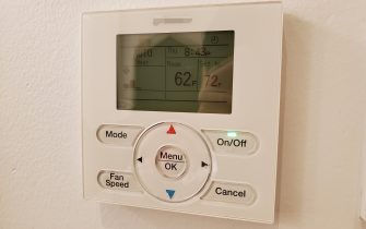 Close-up of Daiken HVAC control panel and thermostat on the wall of a commercial facility, San Ramon, California, December 30, 2019. (Photo by Smith Collection/Gado/Getty Images)