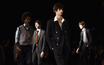 FLORENCE, ITALY - JANUARY 10:  EDITORS NOTE: (This image has been converted in black and white) Models walk the runway at the Brooks Brothers show during the 93. Pitti Immagine Uomo at Fortezza Da Basso on January 10, 2018 in Florence, Italy.  (Photo by Stefania M. D'Alessandro/Getty Images)