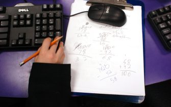 NEW YORK - JANUARY 11:  A young student's computer work station during her after-school learning program on January 11, 2006 at SCORE! Educational Center in Manhattan, New York. There are 168 SCORE! centers around the country. On average students attend a one-hour session twice a week.  (Photo by Farah Nosh/Getty Images)
