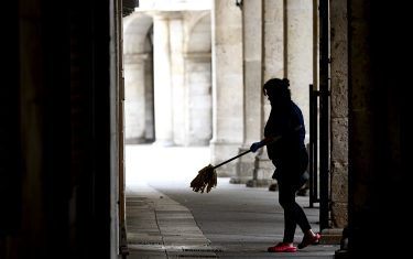 BURGOS, SPAIN - MARCH 31: A professional cleaning woman will get ready to work. Cleaners are considered essential workers, so they continue to work during the state of alarm on March 31, 2020 in Burgos, Spain. Spain ordered all non-essential workers to stay home for two weeks to help slow the Coronavirus (COVID-19) pandemic, which has killed more than 6,000 people in the country. (Photo by Samuel de Roman/Getty Images)