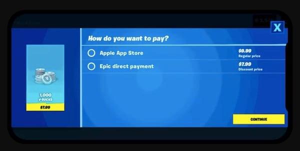 Screenshot della seconda opzione di pagamento introdotta da Fortnite
