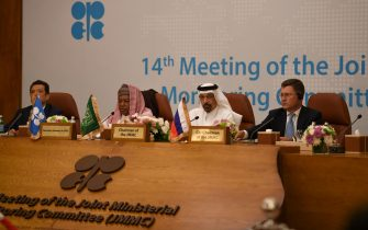 (L to R) Venezuela's Oil Minister Manuel Quevedo, Secretary General of OPEC Mohammed Barkindo, Saudi Arabia's Energy Minister Khalid al-Falih, and Russia's Energy Minister Alexander Novak attend the one-day OPEC+ group meeting in the Saudi city of Jeddah on May 19, 2019. - Major crude producers are set to meet today to discuss how to stabilise a volatile oil market amid rising US-Iran tensions in the Gulf, which threaten to disrupt supply.  Key OPEC members and other major suppliers including Russia will assess the oil market and examine compliance to production cuts agreed late last year. (Photo by Amer HILABI / AFP)        (Photo credit should read AMER HILABI/AFP via Getty Images)
