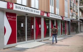 BARI, ITALY - MAY 30: An external view of the headquarters of Banca Popolare Di Bari on May 30, 2020 in Bari, Italy. Former co-director of Banca Popolare Di Bari, Gianluca Jacobini is under investigation for false accounting and prospectus and an obstacle to supervision alongside Giuseppe Marella and Nicola Loperfido. Jacobini was arrested and placed under house in January, along with his father, the bankâ  s former CEO Marco Jacobini. (Photo by Donato Fasano/Getty Images)