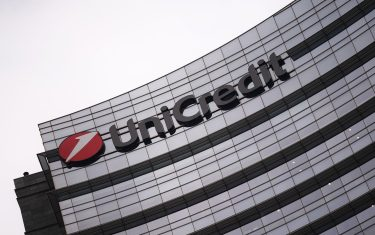 The Unicredit logo on the Unicredit tower is pictured in Milan on November 7, 2017. / AFP PHOTO / MARCO BERTORELLO        (Photo credit should read MARCO BERTORELLO/AFP via Getty Images)