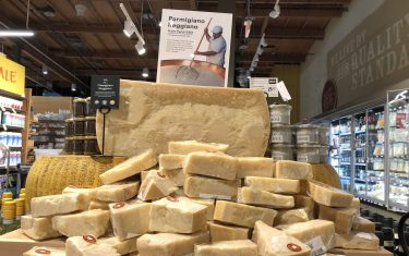 MILL VALLEY, CALIFORNIA - AUGUST 26: Parmigiano Reggiano cheese imported from Italy is displayed at a Whole Foods store on August 26, 2019 in Mill Valley, California. The United States has proposed retaliatory tariffs on several European products including cheese, olive oil, and wine that could be as much as 100 percent. The tariffs are in response to the European Union's subsidies to European aircraft manufacturer Airbus. Tariffs could  (Photo by Justin Sullivan/Getty Images)