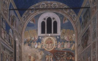 """Last Judgement (Giudizio Universale), by Giotto, 1303-1305, 14th Century, fresco  Italy, Veneto, Padua, Scrovegni Chapel. After restoration picture. Whole artwork view. View of the chapel, seen from the apse towards the counterfacade; under the big barrel ceiling, upon which is painted a blue sky full of stars, the front wall is fully illustrated with the representation of the Last Judgment; under the triple lancet window, in the middle of the scene, the throne of Christ the Judge stands out, surrounded by the angels and the ones accepted in Paradise; under him, above the entrance door, the cross separating the blessed and the damned in hell, on the right.  (Photo by Antonio Quattrone/Archivio Quattrone/Mondadori Portfolio via Getty Images)"""