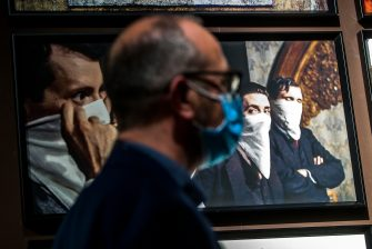 People visit the exhibition  Once upon a time Sergio Leone  at the Ara Pacis museum during Italian Republic Day  Festa della Repubblica  in Rome, Italy, 02 June 2020.  ANSA/ANGELO CARCONI
