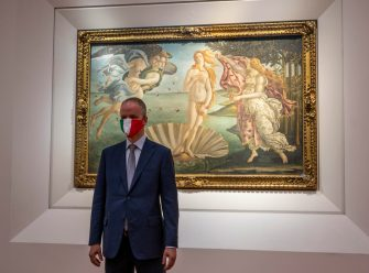 Director of the Uffizi gallery, Eike Schmidt, explains to the press the new security provisions to welcome visitors, in Florence, Italy, 02 June 2020. Florence's famed Uffizi gallery will reopen on Wednesday June 3. ANSA/CLAUDIO GIOVANNINI
