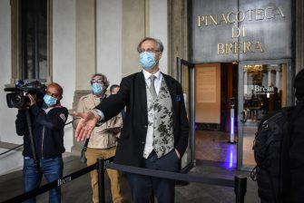 Pinacoteca di Brera General manager James Bradburne welcomes the first visitors after reopening of the Pinacoteca di Brera after the lockdown due to the Coronavirus Covid-19 pandemic in Milan, Italy, 09 June 2020.  Ansa/Matteo Corner