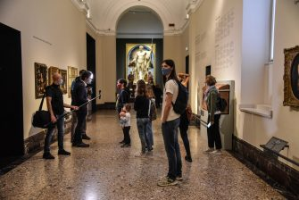 Visitors stand in a hall after reopening of the Pinacoteca di Brera after the lockdown due to the Coronavirus Covid-19 pandemic in Milan, Italy, 09 June 2020.  Ansa/Matteo Corner